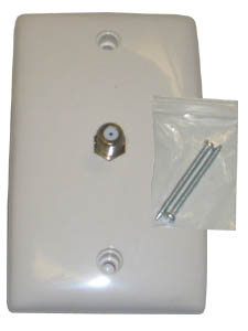 Wall Plate for RG6 (TV) Single with Nails